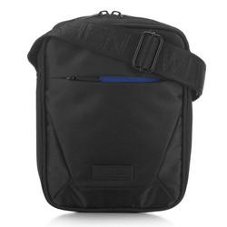 Мужская сумка через плечо  с яркой молнией, черно-голубой, 91-4P-705-17, Фотография 1
