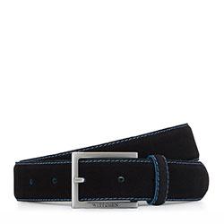 Ремень мужской кожаный велюровый с цветной строчкой, черно-голубой, 92-8M-380-1-10, Фотография 1