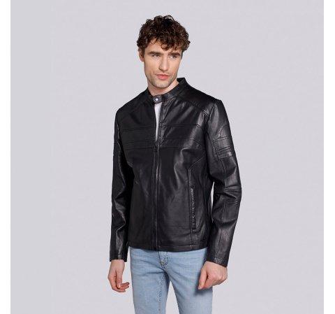 Мужская кожаная куртка на молнии, черно - графитовый, 91-09-653-1B-S, Фотография 1