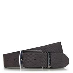 Мужской кожаный ремешок двухсторонний с текстурой в клетку, черно-коричневый, 91-8M-311-4-12, Фотография 1