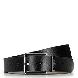 Мужской двухсторонний ремень из зернистой кожи, черно-коричневый, 91-8M-310-1-12, Фотография 1