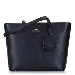 Кожаная трапециевидная сумка-шоппер, черно-коричневый, 92-4E-642-1, Фотография 1