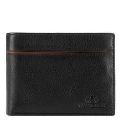 Мужской кожаный кошелек с разрезом, черно-коричневый, 21-1-491-14, Фотография 1
