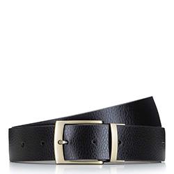 Мужской двусторонний кожаный ремень с винтажной пряжкой, черно-коричневый, 92-8M-354-14-12, Фотография 1