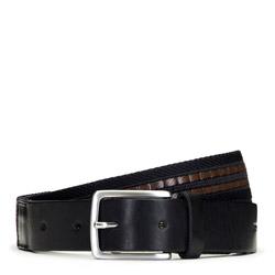 Мужской тканевый ремень с кожаной вставкой, черно-коричневый, 91-8M-353-1-90, Фотография 1