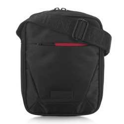 Мужская сумка через плечо  с яркой молнией, черно-красный, 91-4P-706-12, Фотография 1
