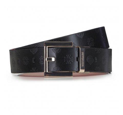Женский кожаный ремень двухсторонний тисненый логотипом, черно-красный, 91-8D-301-7-XL, Фотография 1
