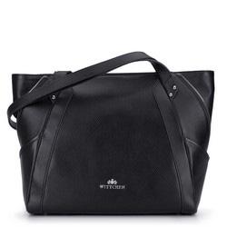 Кожаная сумка-шоппер с декоративной застежкой-молнией, черно-серебряный, 92-4E-646-1S, Фотография 1