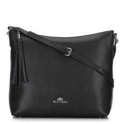 Кожаная сумка-шоппер с кисточкой, черно-серебряный, 29-4E-008-10, Фотография 1