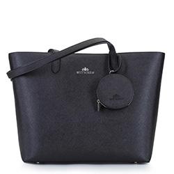 Кожаная трапециевидная сумка-шоппер, черно-серебряный, 92-4E-642-11, Фотография 1