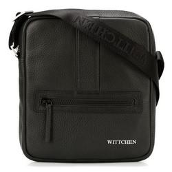 Мужская маленькая  кожаная сумка-мессенджер, черно-серебряный, 92-4U-901-11, Фотография 1