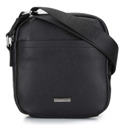Мужская сумка через плечо с небольшим карманом, черно-серебряный, 29-4P-003-1, Фотография 1