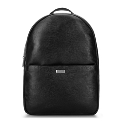Мужской кожаный рюкзак для ноутбука из мягкой кожи, черно-серебряный, 92-3U-310-1, Фотография 1