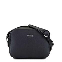 Женская сумка-коробочка через плечо., черно-серебряный, 29-4Y-006-11, Фотография 1