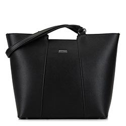 Большая трапециевидная сумка-шоппер, черно-серебряный, 29-4Y-004-11, Фотография 1