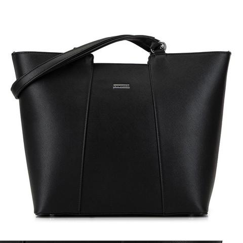Большая трапециевидная сумка-шоппер, черно-серебряный, 29-4Y-004-01, Фотография 1