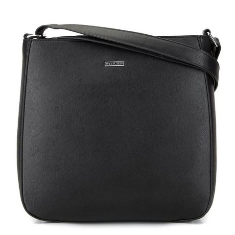 Женская  трапециевидная сумка через плечо, черно-серебряный, 29-4Y-005-01, Фотография 1