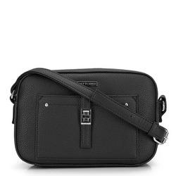 Женская сумка через плечо с передним карманом, черно-серебряный, 29-4Y-001-1, Фотография 1
