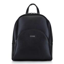 Женский рюкзак с закругленными линиями, черно-серебряный, 29-4Y-008-11, Фотография 1