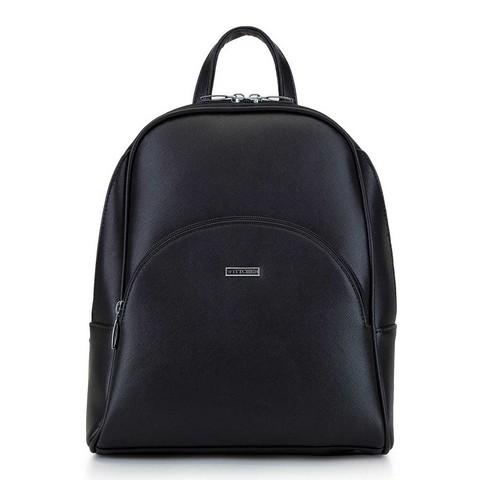 Женский рюкзак с закругленными линиями, черно-серебряный, 29-4Y-008-01, Фотография 1