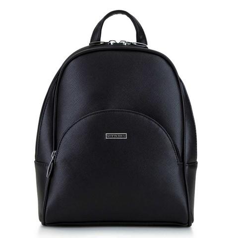 Женский рюкзак с полукруглым карманом, черно-серебряный, 29-4Y-007-01, Фотография 1
