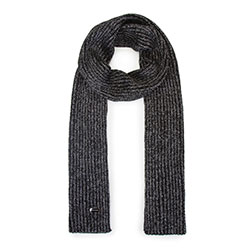 Женский шарф с металлической нитью, черно-серебряный, 93-7F-005-1, Фотография 1