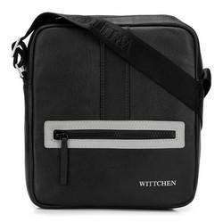 Мужская маленькая  кожаная сумка-мессенджер, черно-серый, 92-4U-901-18, Фотография 1