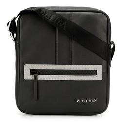 Мужская маленькая  кожаная сумка-мессенджер, черно-серый, 92-4U-901-1S, Фотография 1