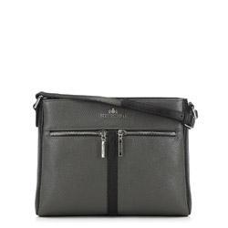 Женская сумка через плечо с карманом, черно-серый, 91-4E-604-8, Фотография 1