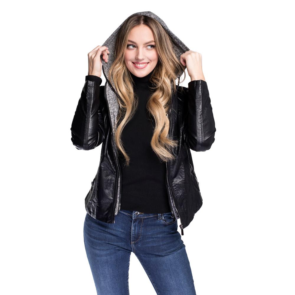 Женская куртка  с вязаным капюшоном, черно-серый, 92-9P-901-1-XL, Фотография 1
