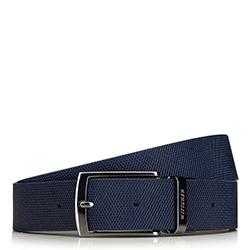 Мужской кожаный ремешок двухсторонний с текстурой в клетку, черно-синий, 91-8M-311-7-90, Фотография 1