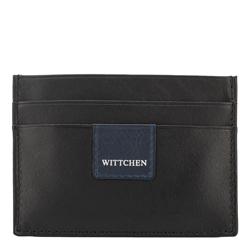Кожаный чехол для документов с нашивкой-логотипом, черно-синий, 26-2-918-17, Фотография 1