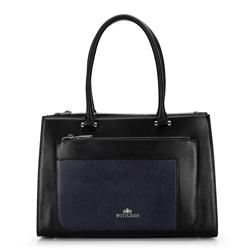 Кожаная сумка-саквояж с цветными вставками, черно-синий, 92-4E-622-1, Фотография 1