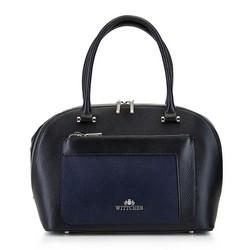 Кожаный саквояж c цветными карманами, черно-синий, 92-4E-623-1, Фотография 1