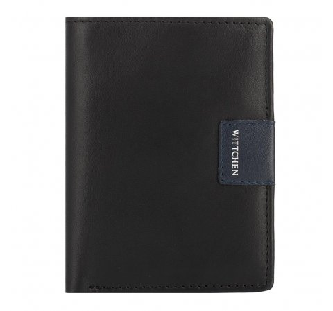 Кожаный кошелек с нашивкой-логотипом, черно-синий, 26-1-434-19, Фотография 1