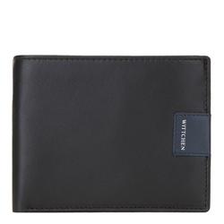 Кожаный  складной кошелек с нашивкой-логотипом, черно-синий, 26-1-262-17, Фотография 1