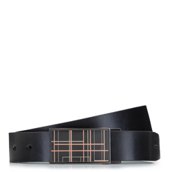 Ремень кожаный мужской двусторонний с пряжкой, черно-синий, 92-8M-352-17-11, Фотография 1