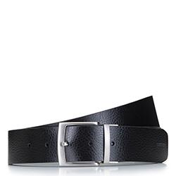 Мужской двусторонний кожаный ремень с винтажной пряжкой, черно-синий, 92-8M-354-17-11, Фотография 1