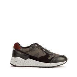 Мужские кожаные кроссовки на толстой подошве, черно - зеленый, 93-M-300-1M-40, Фотография 1