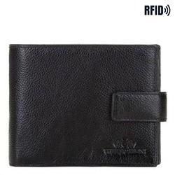 Большой мужской кожаный кошелек, черно-золотой, 21-1-216-10L, Фотография 1
