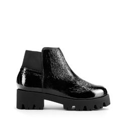 Ботинки из лакированной кожи на толстой подошве, черно-золотой, 93-D-754-L-41, Фотография 1