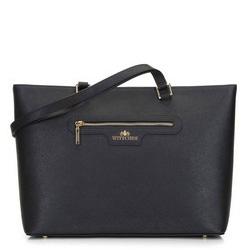 Классическая кожаная сумка-шоппер, черно-золотой, 29-4E-009-11, Фотография 1