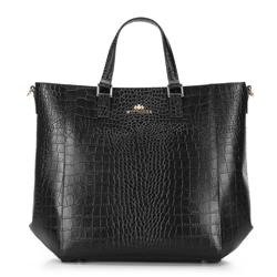 Классическая кожаная сумка-шоппер, черно-золотой, 92-4E-644-1C, Фотография 1