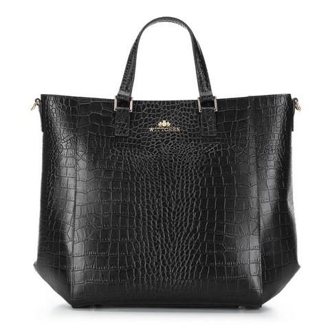 Классическая кожаная сумка-шоппер, черно-золотой, 92-4E-644-9C, Фотография 1