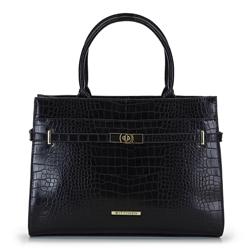 Классическая сумка-сундук с золотой деталью, черно-золотой, 92-4Y-217-1C, Фотография 1