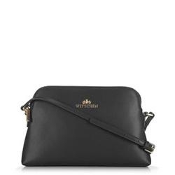 Женская сумка через плечо из кожи трапециевидной формы, черно-золотой, 29-4E-006-10, Фотография 1