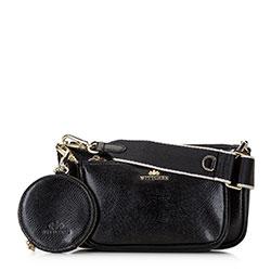 Женская двойная кожаная сумка через плечо, черно-золотой, 92-4E-653-01, Фотография 1