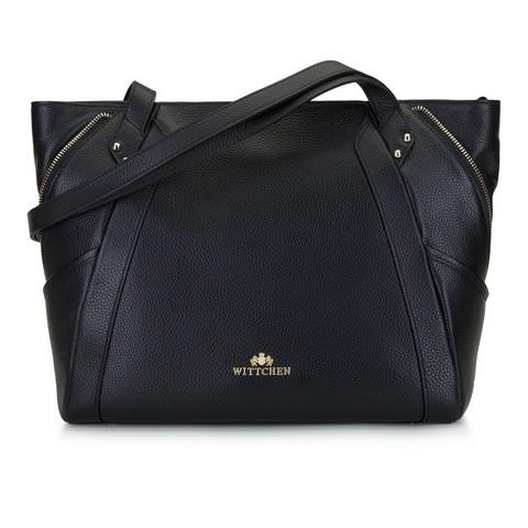 Кожаная сумка-шоппер с декоративной застежкой-молнией, черно-золотой, 92-4E-646-9, Фотография 1