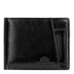 Кожаный кошелек со съемным вкладышем, черно-золотой, 21-1-267-10, Фотография 1
