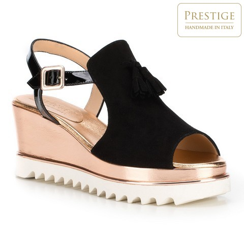 Обувь женская, черно-золотой, 88-D-108-1-41, Фотография 1